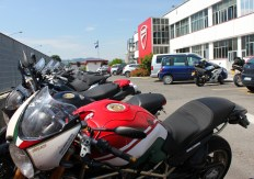 Usually no motorbikes are allowed inside Ducati, unless it's a Ducati - My loaned R6 didn't go down so well