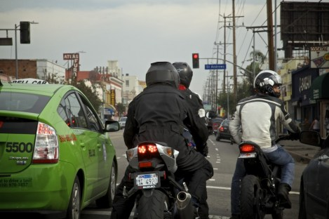 Motorcycle splitting lanes, yes, thats what we do