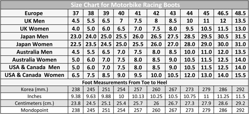 Size Chart Of Motorbike Racing Boots