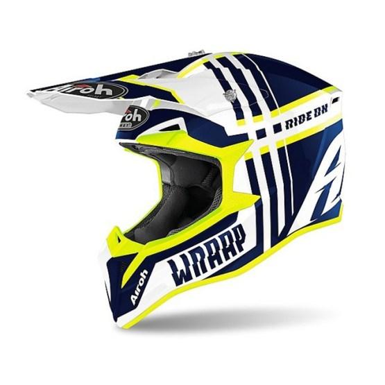 Casco Moto Cross Enduro Airoh WRAAP Broken Blu Lucido
