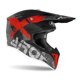 Casco Moto Cross Enduro Airoh WRAAP Smile Rosso Opaco