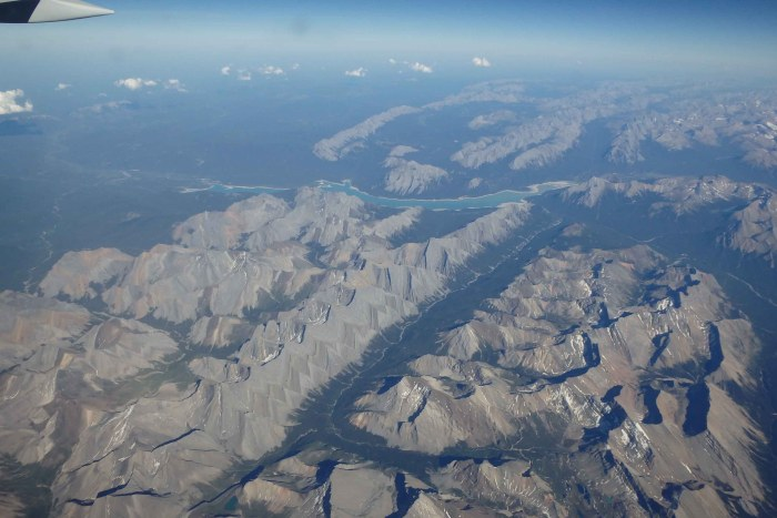 On the flight home. The mountains of NW Canada seen from 37,000 feet.