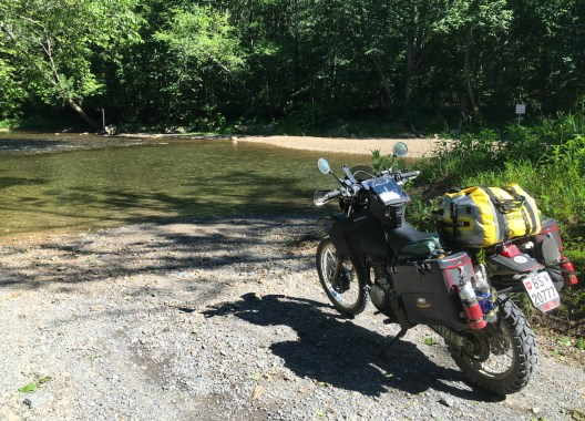 "This dirt road ended with a creek crossing and a ""private property"" sign"