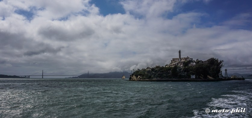 Golden Gate Bridge, Alcatraz and a sailing boat