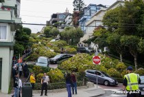 Famous Lombard Street, nowadays only used by tourists... and swiss motorcyclists