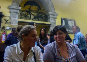 """Marchimarch and Lourdes in fron ot the """"La Fuente"""" bicycle"""