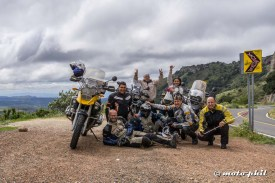 "The group of ""Arrieros Somos"" riders and moto.phil in Sierra de Lobos"