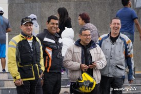 Four motorcycle riders at Cristo Rey