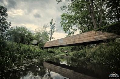 Kładka na Utracie w parku chopinowskim
