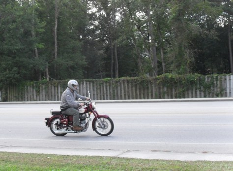 A red Classic Royal Enfield 500
