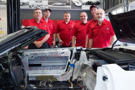 Craftsmen from GM Design's Mechanical Assembly Team, responsible for restoring the 1 millionth Corvette, were on hand to discuss their work during a special event at the GM Design Center on June 9, 2015.