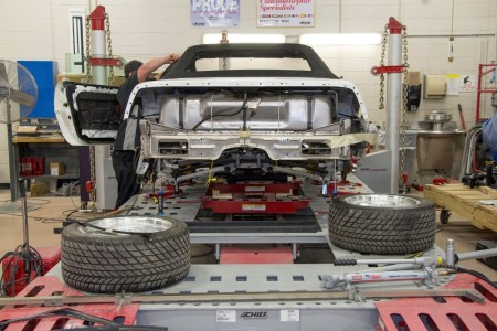 Restoration is underway on the 1-millionth Corvette, a 1992 convertible, that was damaged in the sinkhole that opened up beneath the National Corvette Museum, in Bowling Green, Ky., on Feb. 12, 2014. Completion of the project is scheduled for September.