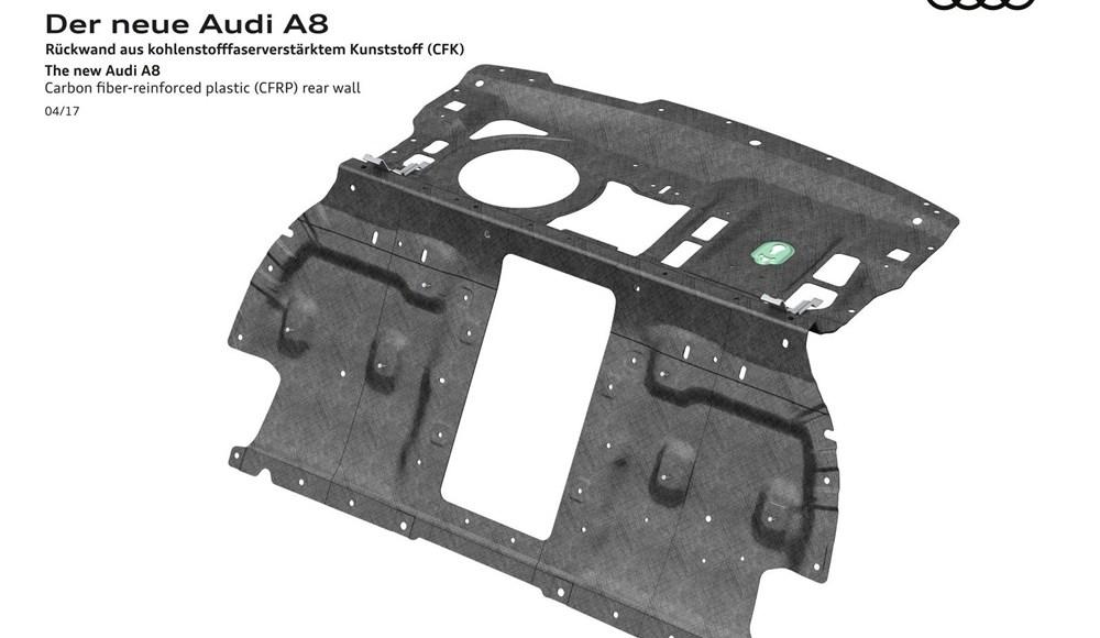 Carbon fiber-reinforced plastic (CFRP) rear wall