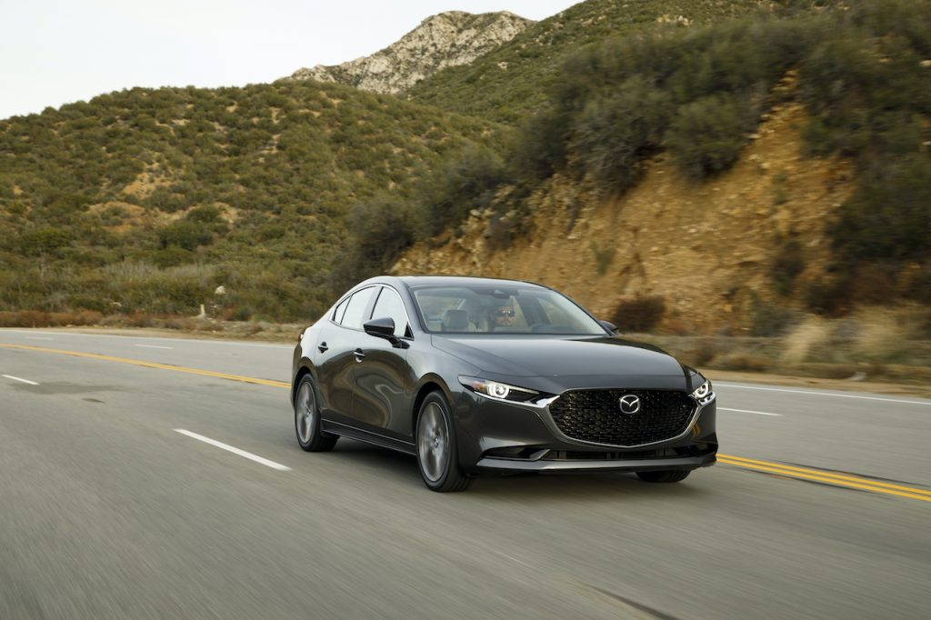 A photo of the Mazda3 outdoors.