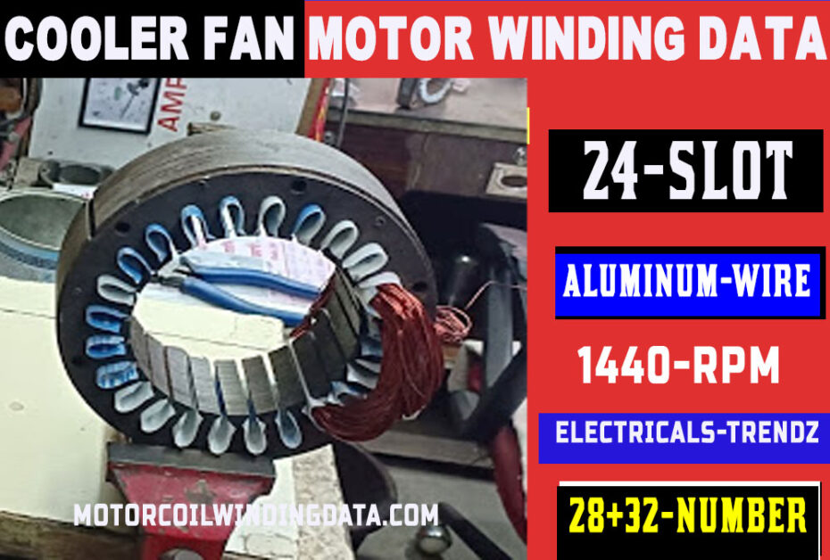 #Cooler fan motor winding with aluminum wire motorcoilwindingdata.com