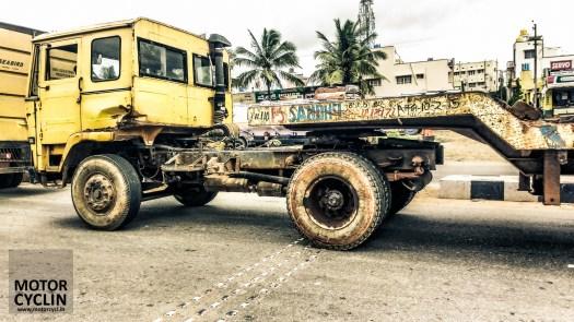 Trucks on the way during a rainy Kolavara Heritage ride