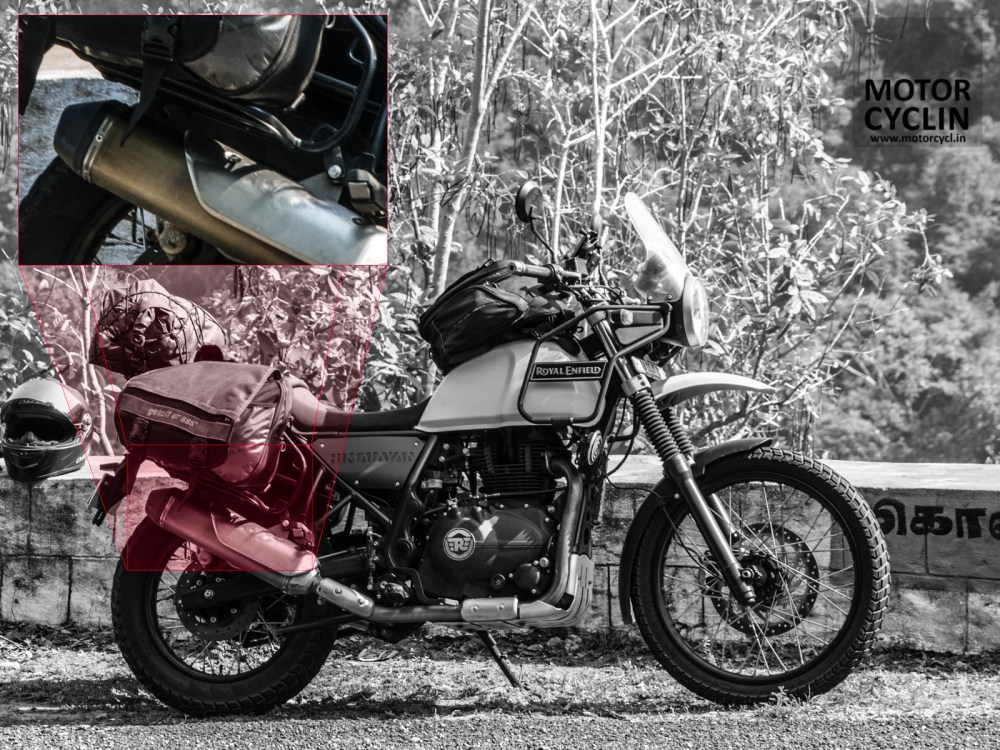 Gap between saddlebag stay for the himalayan and the silencer.