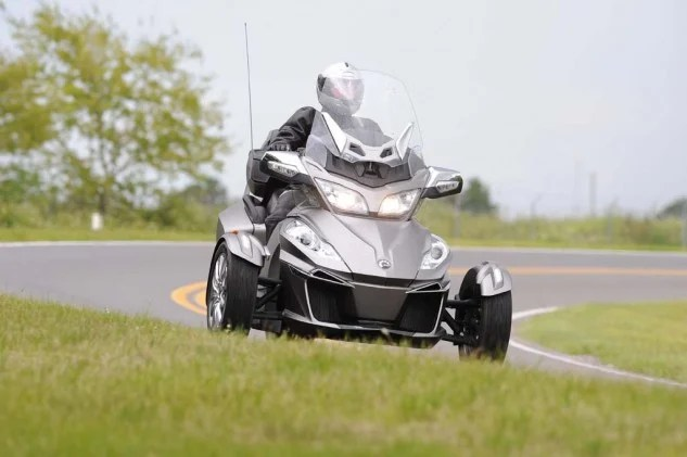 Spyders can be ridden in a spirited fashion, but push the envelope too far and Can-Am's Vehicle Stabilization System activates, cutting power to help keep all three wheels firmly planted on the road.