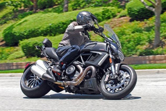 2013 Ducati Diavel Strada Action Cornering
