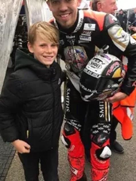 Fan Jacob Lowe meets Isle of Man TT race winner Peter Hickman