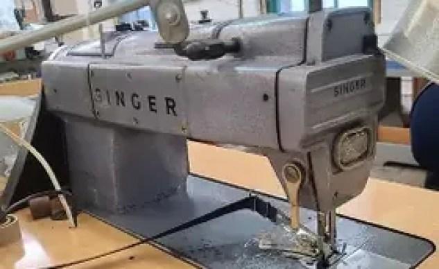 Singer sewing machine at Aerostich
