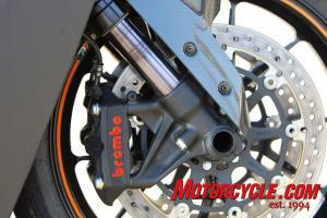 Lots of good stuff seen here, including Brembo radial-mount monoblock calipers, a high-end WP fork with anti-stiction coating, and lightweight forged-aluminum wheels.