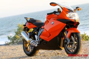The BMW 1300S exhibits chunkier styling than the curvy VFR.