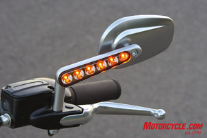 LED turn signals integrated into the stalks of the stylish mirrors is a nice match to the LED light combo at the rear.