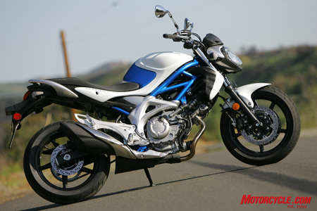 The 2009 Gladius has the freshened-up V-Twin heart of the SV650 in a very stylish package.