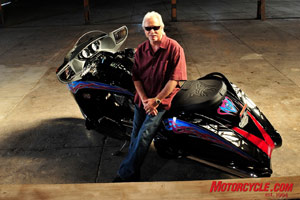 The God of custom motorcycles Arlen Ness poses with his Victory Vision.