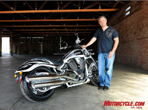 Cory Ness poses with his 2009 custom Jackpot