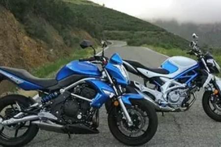 The 2009 Kawasaki ER-6n and 2009 Suzuki Gladius. Every man's dream: naked Twins!