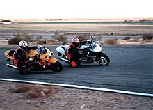 The GSX-R on the track, passing other bikes, leaving them behind, until it's out in front and, ultimately ...