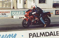"""Chuck """"I'm going to smoke all you clowns"""" Graves on his way to an incredible 10.79 second run at 126.78 mph. We only made 11 passes before the clutch fried -- Chuck felt the little ZX could've done better."""