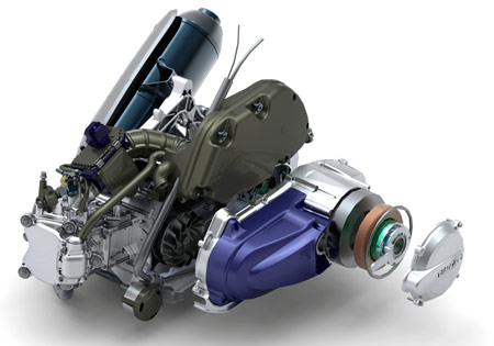 According to Motorcycle.com, the Piaggio MP3 Hybrid is powered by a 124cc four-stroke engine and a reversible electric motor.