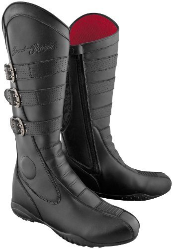Speed and Strength Cruise Missile Mens Motorcycle Leather Boots Black, Size 9