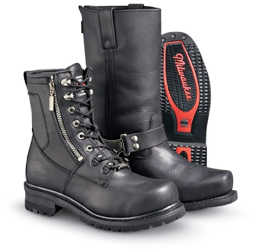 Black, Size 11EE Milwaukee Motorcycle Clothing Company Mens Outlaw Motorcycle Boots