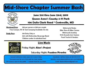 MID SHORE CHAPTER SUMMER BASH @ Queen Anne's County 4-H Park