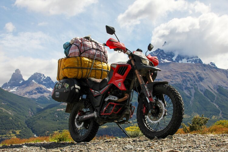 Heavily ladened off-road motorcycle - motorcycle touring mistakes