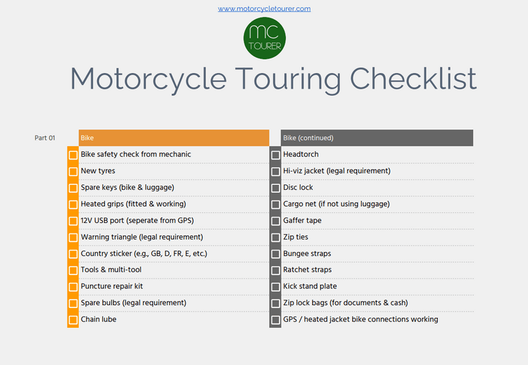 motorcycle touring packing checklist - download