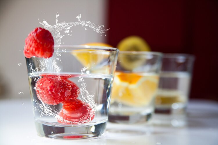 water with fresh fruit - motorcycle touring hydration