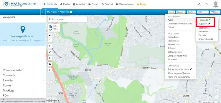 avoiding tolls roads and highways on myroute-app