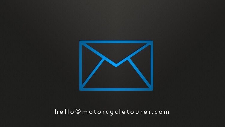 email symbol with motorcycle tourer email address