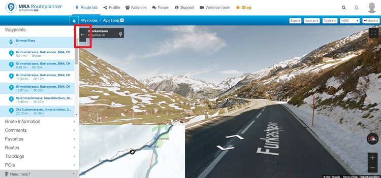 exiting streetview - motorcycle route planner