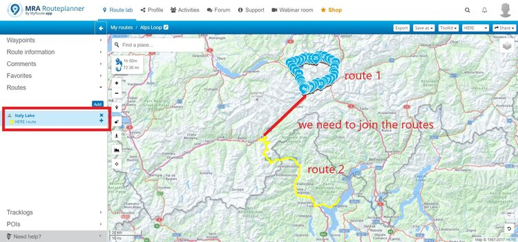 finding a bridge to merge routes on myroute-app