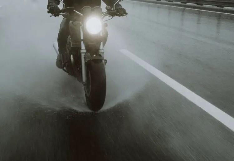 motorcycle aquaplaning in wet weather