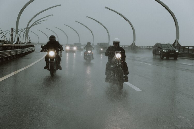 motorcycle riding in the rain