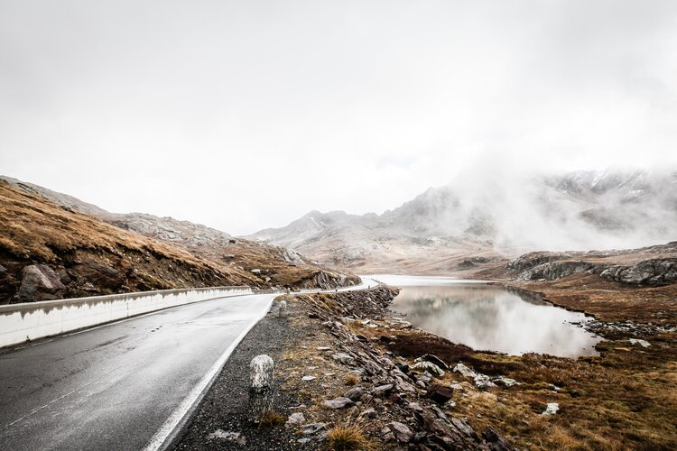 mountain pass after rain - wet weather motorcycle riding
