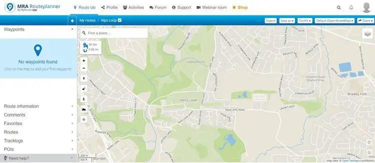 generic screen on myroute-app - motorcycle route planner