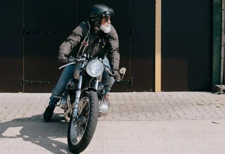 traditional biker on retro bike